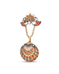 a fine jeweled and enameled gold shell form watch pendant