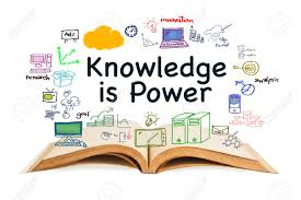 knowledge is power text with opened book and drawing icon on white background stock photo