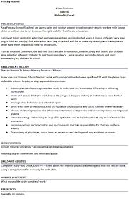 Cv Primary School Teacher Primary Teacher Cv Example For Job Applications Lettercv Com