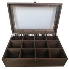 china solid wood box with clear window and 12 compartments wooden tea box china tea box wood box