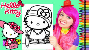 Love this hello kitty colouring book with all of the unique designs drawn every page. Coloring Hello Kitty Fancy Dress Giant Coloring Page Crayola Crayons Kimmi The Clown Youtube