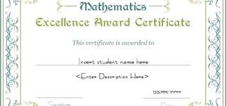 Professional Certificates Templates Certificates Of Excellence Templates Mathematics Excellence Award