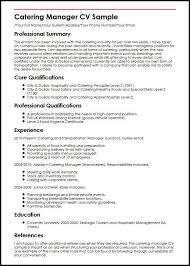 Caterer Resume Catering Manager Cv Sample Myperfectcv