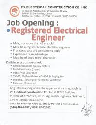 Jobs Hiring Without Resume Registered Electrical Engineer Registered Master Electrician Job 28