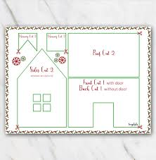 christmas house template printable gingerbread house template in red and green