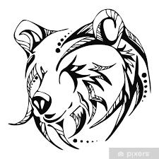 Fototapeta Vinylová Medvědí Hlava Tetování Vektor