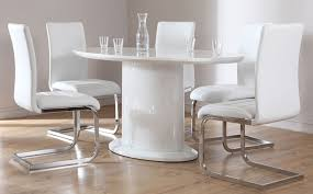 Small Picture Monaco White High Gloss Oval Dining Table and 6 Chairs Set Perth