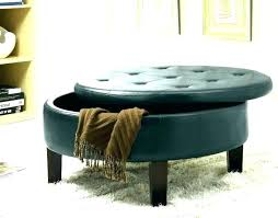 blue ottoman with storage navy round tufted leather faux bl navy leather ottoman