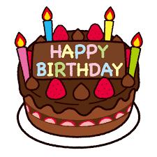 誕生日ケーキのイラスト(チョコレート・英語)(4カット) | イラストくん