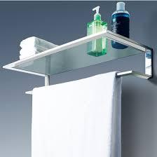 cool line platinum collection bathroom glass shelf with towel bar