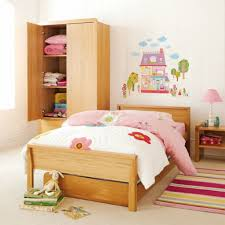 pink girls bedroom furniture 2016. Bedroom, Simple Little Girls Bedroom Design With Oak Wooden Bed Frame And Cupboard In The Pink Furniture 2016