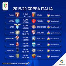 StarTimes - Coppa Italia 2019/2020 Round of 16 Fixtures....