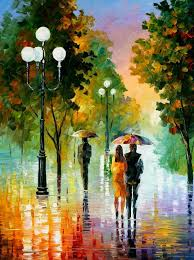 evening stroll under the rain original oil painting on canvas by leonid afremov size