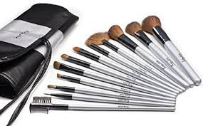 karity cosmetics studio 12 piece natural hair makeup brush set with pouch silver