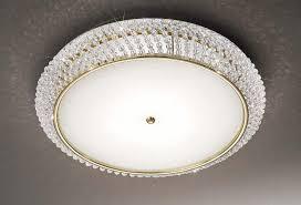 carla gold crystal flush ceiling light with diffuser kolarz lighting