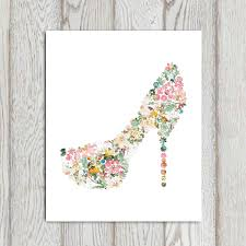 shoe print flower decor fashion shoe wall art printable 5x7