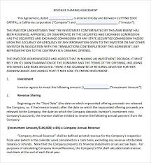 Profit Sharing Agreement Template Stunning Simple Revenue Sharing Agreement Template Tridentknights