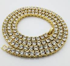 tennis glue diamond cuban link chain necklace hip pop style jewelry 14k gold plating high quality