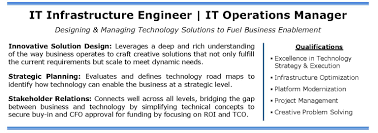 It Infrastructure Engineer Operations Manager Nyc Ct Candidate