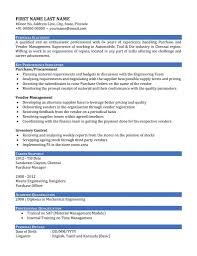 Resume Samples For Experienced Purchase Engineer New Sample Resume
