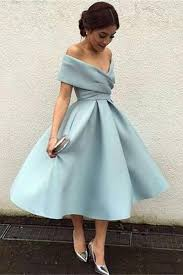 Simple Elegant Beautiful Tea Length Off The Shoulder Light Blue Simple Elegant Prom