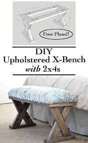 homemade furniture ideas. DIY Upholstered X-Bench Using 2 X 4 Boards With Plans Homemade Furniture Ideas