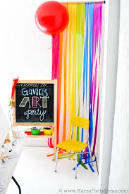 art colorful rainbow themed birthday party planning supplies cake cupcakes decor ideas favors activities artist painting with painting party ideas