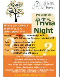 Trivia Night Flyer Little Bit Of Haven