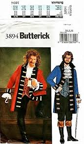 Pirate Costume Pattern Extraordinary Amazon OOP Butterick Pirate Costume Pattern 48 Mens Szs Xs