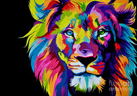 free colorful lion painting by