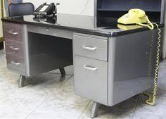 vintage metal office desk. All-steel Tanker Desk (vintage Refinished) W/black Formica Top Vintage Metal Office E