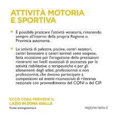 Asl Roma 5 - 📣Il Lazio in zona gialla Le nuove norme...