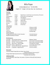 Dance Resume Template Personal Beginner Resume Image Collections