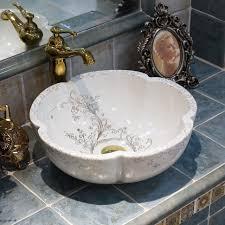 china painting style handmade ceramic washing basin bathroom wash basin sink counter top table top basin