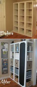 DIY Command Center with Storage and Chalkboard. This creative project  starts with three shelving units