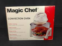 magic chef 3 gallon convection countertop oven glass bowl white