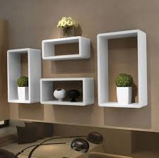 Image of: White Floating Wall Shelves Modern Style