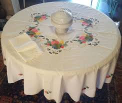 large round tablecloth embroidered by hand with fabric and lace s 168 cm