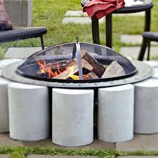 diy fire pit on concrete patio