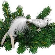 Vogel White Feathers Weiss Matt Inge Glas Weihnachtsbaumschmuck