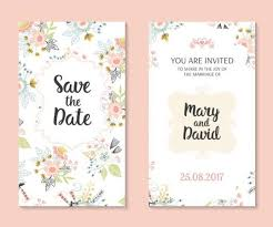 Wedding Invitation Card Template With Floral Vectors 01