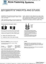 Alcoa Fastening Systems Keensert Products Are Available From