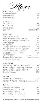 Salon Menu Classic Floral Hair Salon