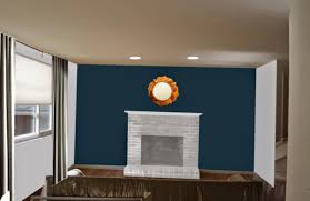 weafer design living room dining paint colors with red brick fireplace wall blue