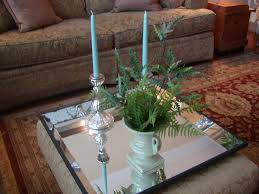 Decorating An Ottoman With Tray Bed Bath Cool Beveled Mirrored Tray With Candle Holder For 49