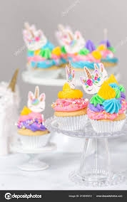 Unicorn Cupcakes Multicolor Buttercream Icing Cake Stands Stock