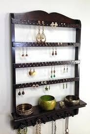 necklace rack wall mount jewelry shelf earring organizer necklace holder you choose stain jewelry holder display