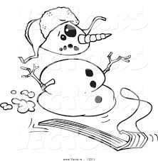 Vector of a Cartoon Sledding Snowman - Coloring Page Outline by ...