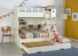 Double Bed with Loft Bunk and Pull Out Trundle.