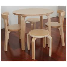 wooden kids table 2 chairs 2 stools